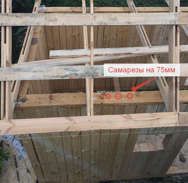 Пример закрепления вертикального бруса в бане