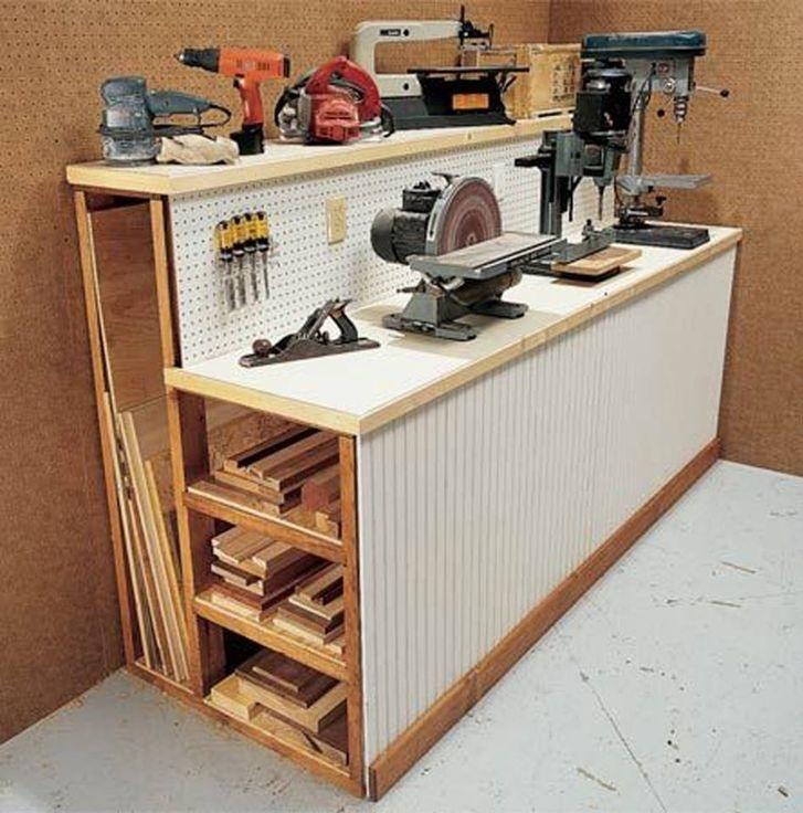 самодельный стол верстак с отсеками для хранения