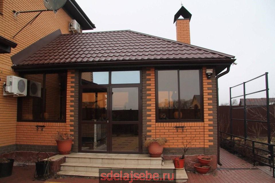 беседка пристрой к дому, теплая с окнами